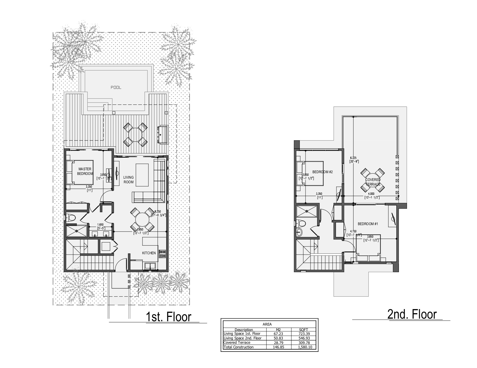 Mar - 3 Bedroom - 2 Story Beach Residences - Floor Plans