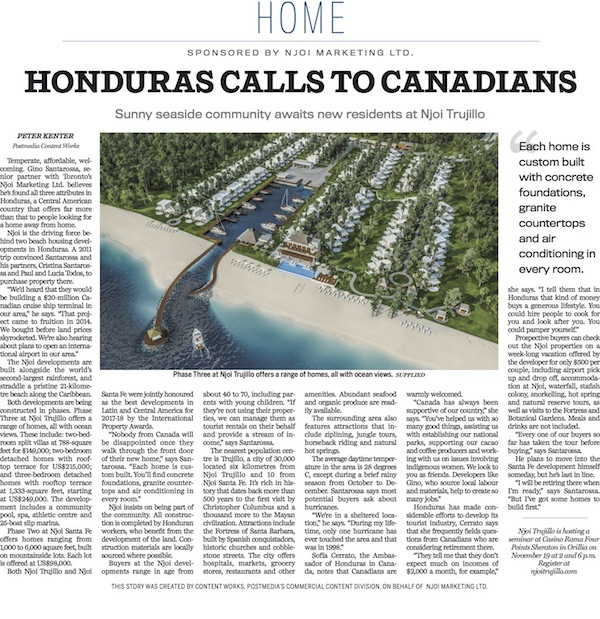 Honduras calls to Canadians